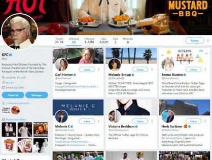 Las curiosas cuentas que KFC sigue en Twitter